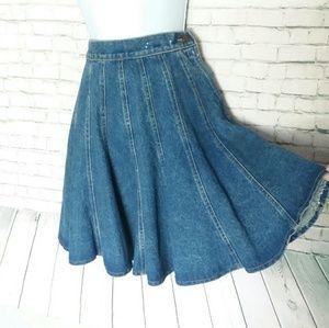 [VINTAGE] TROUSERS UP denim pleated skirt